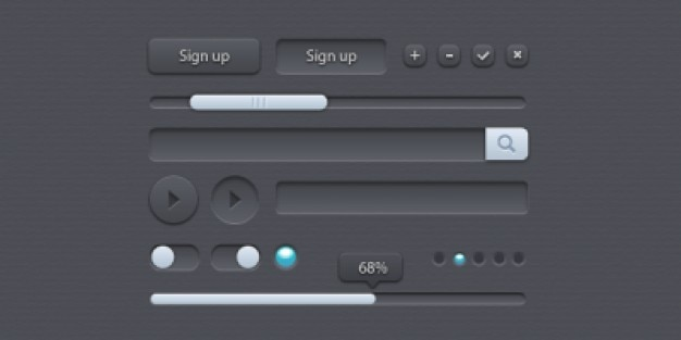 Vari e diversi elementi dell'interfaccia utente