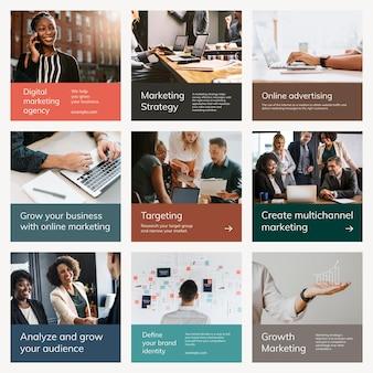 Различные шаблоны цифрового маркетинга psd бизнес набор постов в социальных сетях