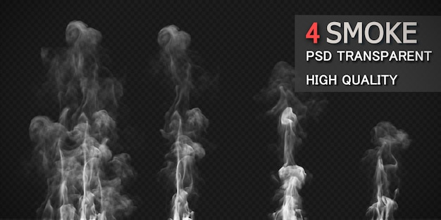 Various fire smoke styles pack isolated