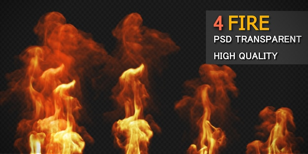 Various fire styles pack isolated