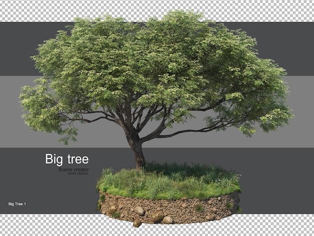 さまざまな形の草のレンダリングと樹木