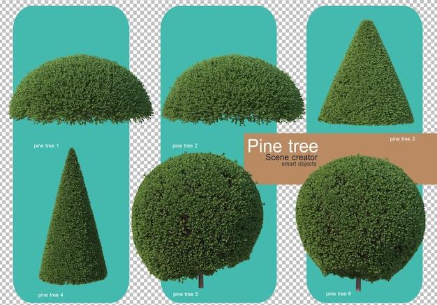 さまざまな形の松の木のレンダリング