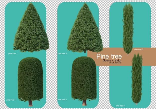 다양한 형태의 소나무 렌더링