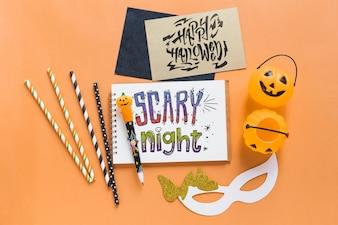 Various halloween elements mockup