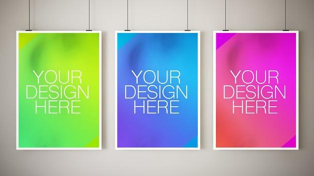 Various hanging posters mockup
