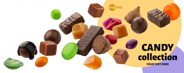 Various jelly candies, caramel, lollipops isolated