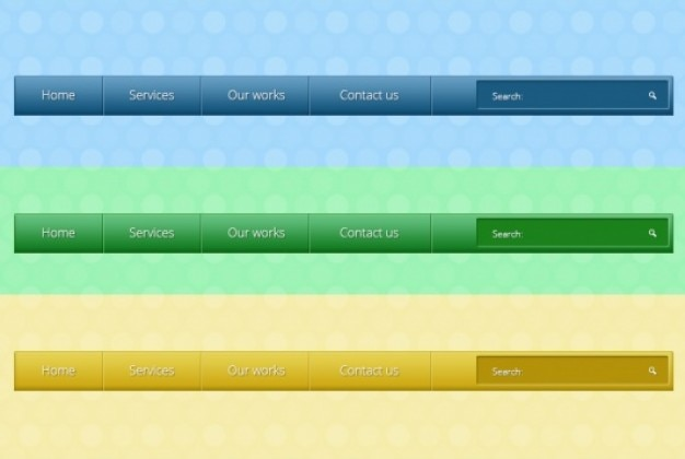 Various menu with buttons in three colors