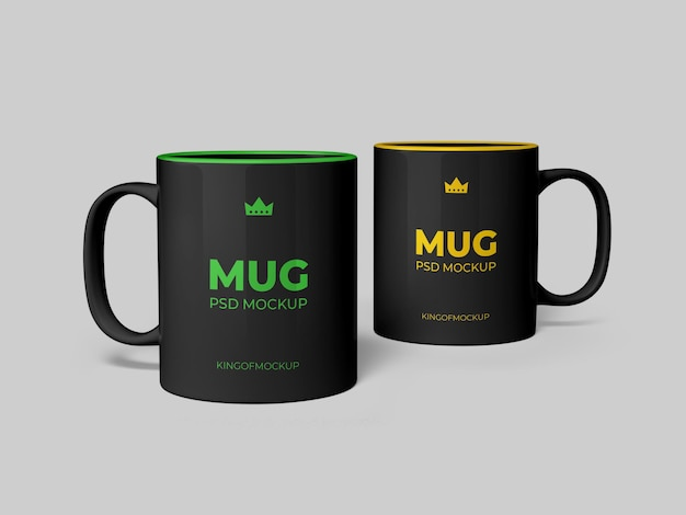 Various mug mockup design in 3d rendering