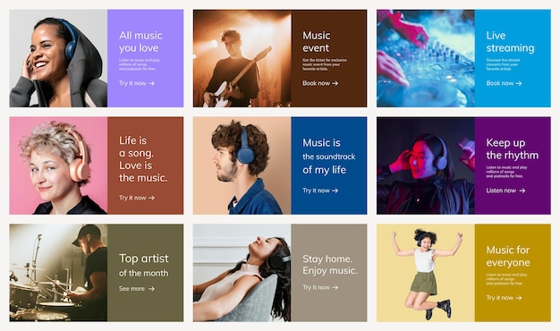 Various music advertising template psd for poster set