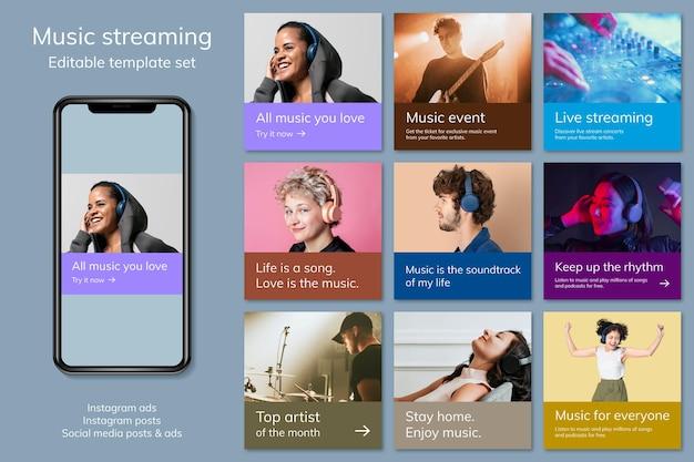 Various music advertising template psd for social media post set