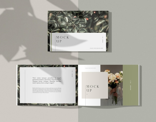 Various nature editorial magazine mock-up