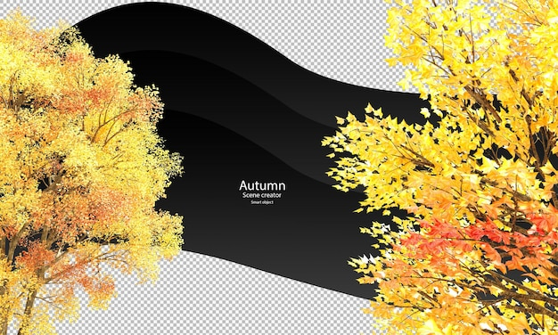 さまざまな秋の木の枝のクリッピングパス秋の木の枝が分離されました