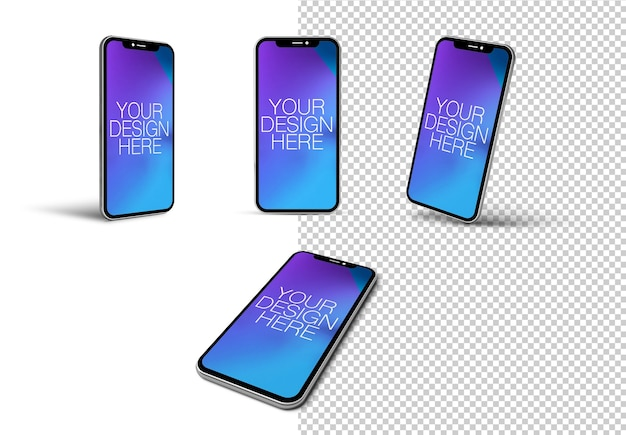 Various phone angles isolated mockup