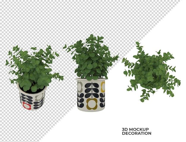 ポット装飾デザインの様々な植物