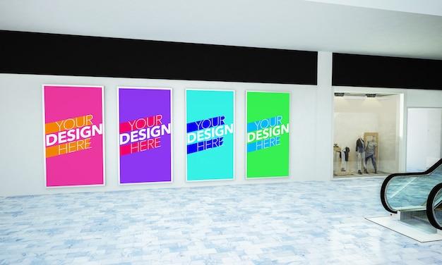 Various posters mockup in 3d rendering