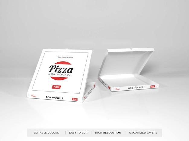 다양한 현실적인 피자 상자 모형