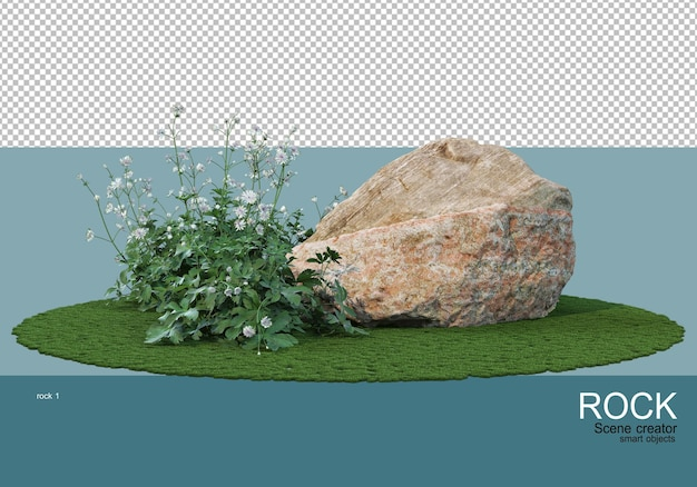 Various rocks and grasses