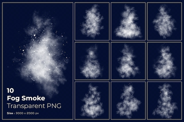 Various shapes of fog smoke transparent collection