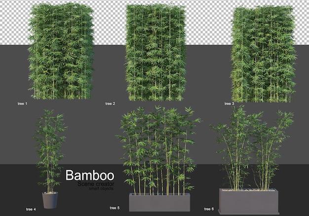 Различные формы рендеринга бамбука