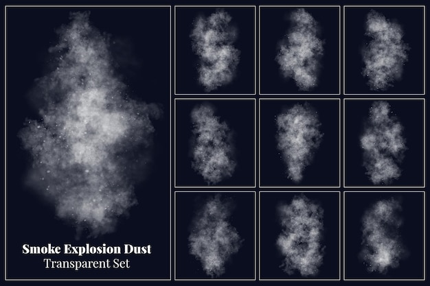 다양한 형태의 연기 폭발 집진 프리미엄 PSD 파일