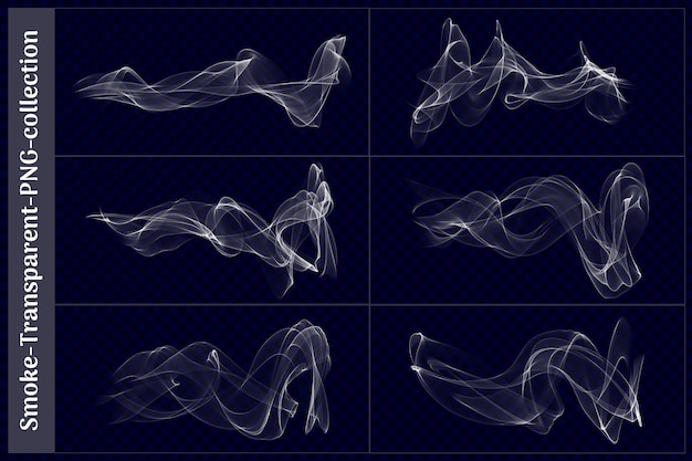 Various shapes of smoke transparent in 3d rendering