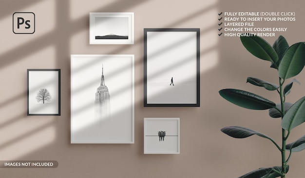 Various sizes of minimal photo frames mockup hanging on the apartment wall