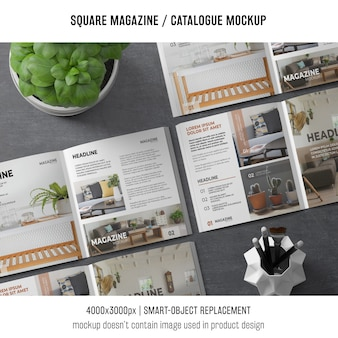 Various square magazine or catalogue mockups