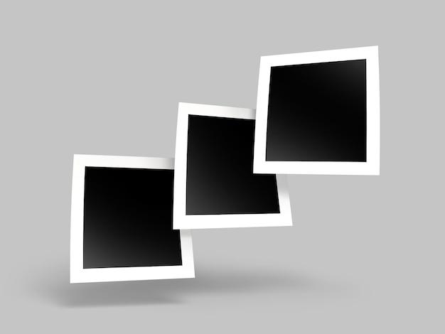 さまざまな正方形の紙フレームの写真のモックアップ