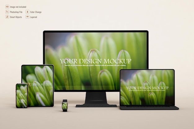 Various technological devices mockup isolated