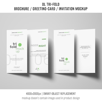 Various trifold brochure or invitation mockups