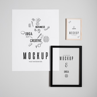Various types of framed mock-ups