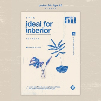 Various types of indoor plants poster