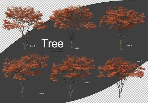 다양 한 유형의 나무 렌더링 격리 됨
