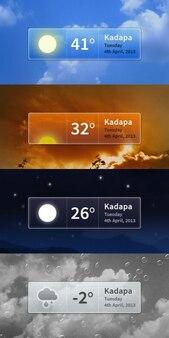 Различных интерфейса погода с температурой
