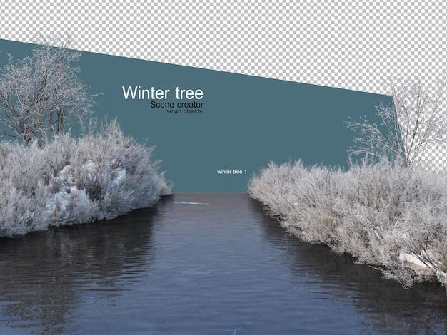 다양 한 겨울 나무 디자인 절연