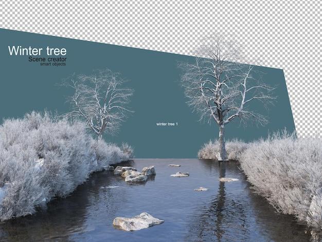 다양 한 겨울 나무 디자인 절연 프리미엄 PSD 파일