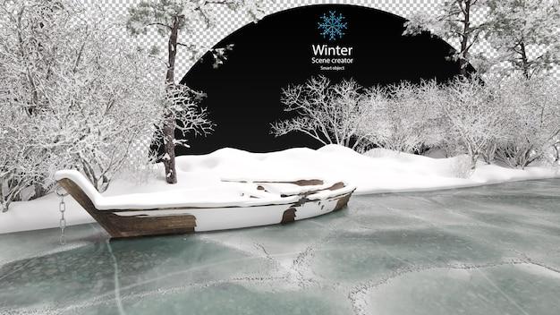 さまざまな冬の木々が凍った小川の氷の上で凍った小川のクリッピングパス古い木製のボートを囲みました