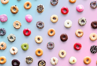Varities of donut flavor shot in aerial view