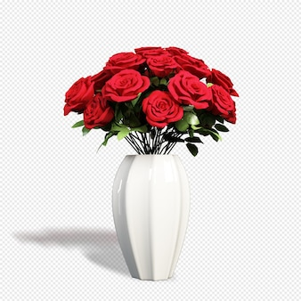 3dレンダリング分離のバラの花瓶