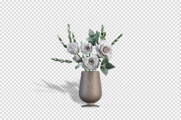 3d 렌더링에서 말린 꽃의 화병