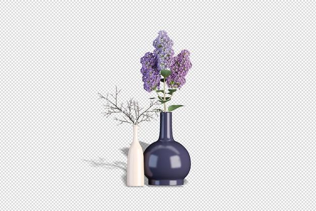 3d 렌더링에서 말린 꽃의 꽃병