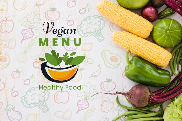 Vegan menu background with copy space