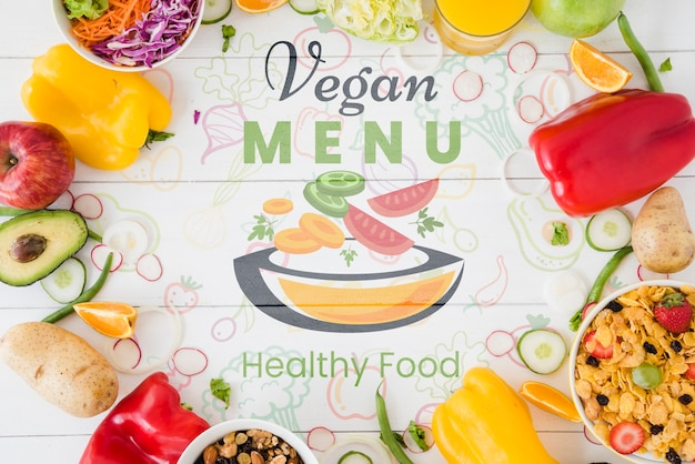Vegan menu background with vegetables circle