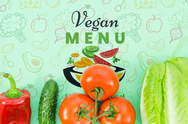 Vegan menu with fresh vegetables