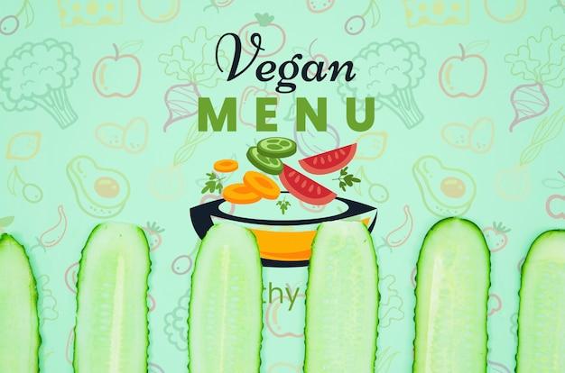 Vegan menu with organic cucumber
