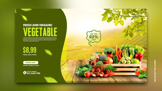 Рекламный баннер доставки овощей и продуктов instagram шаблон сообщения в социальных сетях