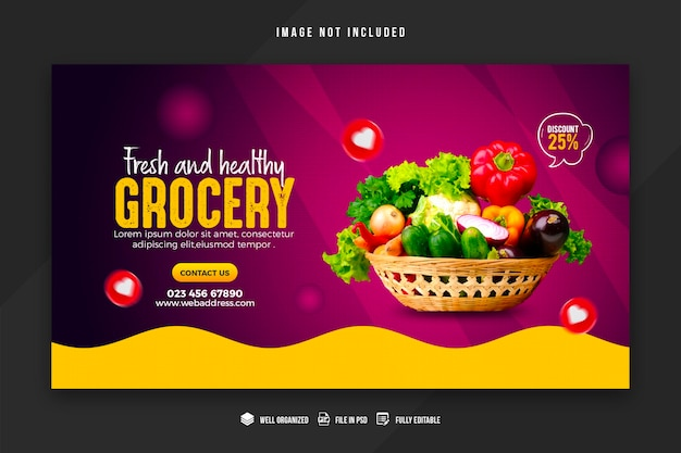 야채 및 식료품 웹 배너 디자인 서식 파일