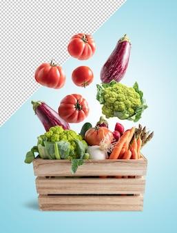 Vegetable flying in wooden box rendering