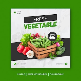 Vegetable food banner template  for social media premium psd