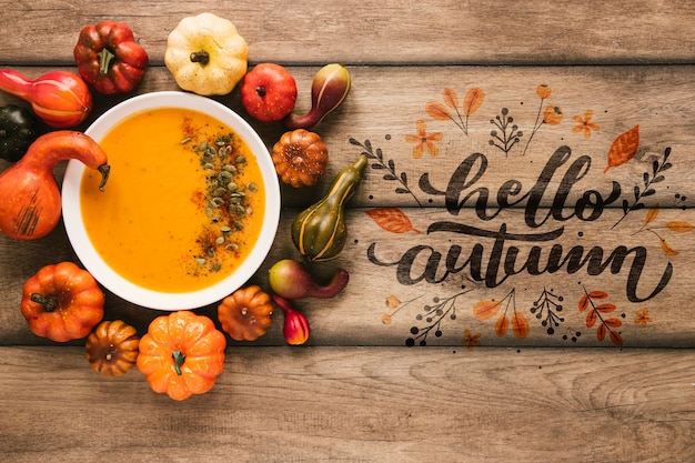 Vegetable goulash with hello autumn quote